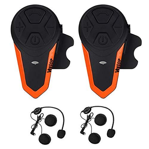 Motorcycle Intercom Bluetooth Helmet Headset - Veetop 1000M Waterproof Motorbike Interphone Helmet Communication System Kits with Walkie Talkie MP3/GPS & FM Radio for Riding&Skiing, 2-3 Riders(2 Pack)