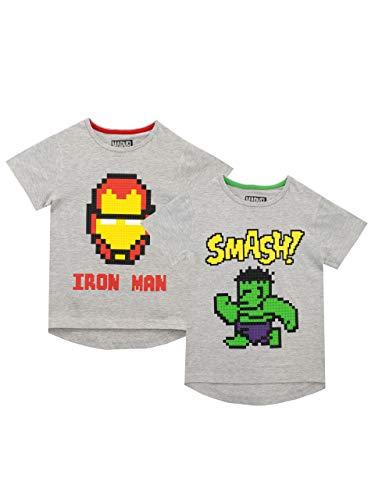 Marvel Pack de Dos Camisetas de Manga Corta para niños Iron Man y Hulk Gris 3-4 Años