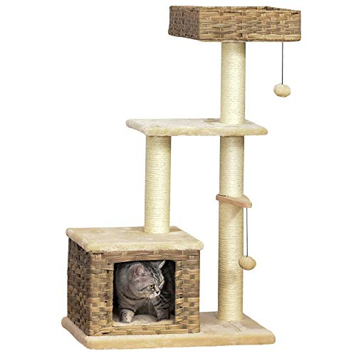 Pawhut Rattan Katzenbaum Kratzbaum Kätzchen Möbel mit Katzenhöhle Ballspielzeug Sisal weiche Plüsch PE Höhe 108 cm Braun+Beige
