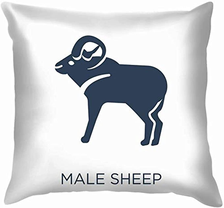 かすかな静める絶えず白の男性の羊のアイコン枕を投げる枕カバーホームソファクッションカバー枕カバーギフト45x45 cm