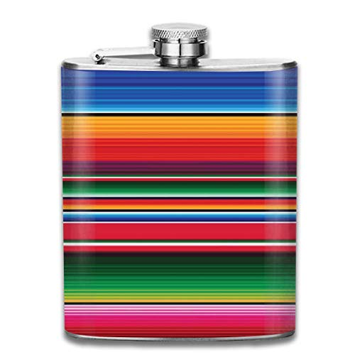 Flachmann für Likör, bunte mexikanische Decke, gestreift, langlebiger Edelstahl-Flachmann mit U-förmigem Körper, 200 ml, rostfrei, auslaufsicher, für Reisen, Angeln, Picknick