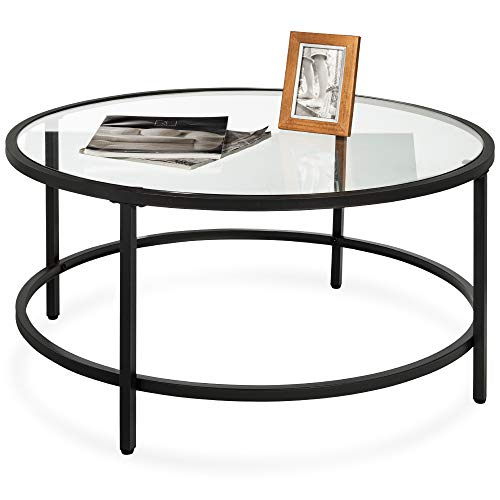 Best Choice Products 36in Modern Round Tempered Glass Accent Side Coffee Table for Living Room, Dining Room, Tea, Home Décor w/Metal Frame, Non-Marring Foot Caps - Black