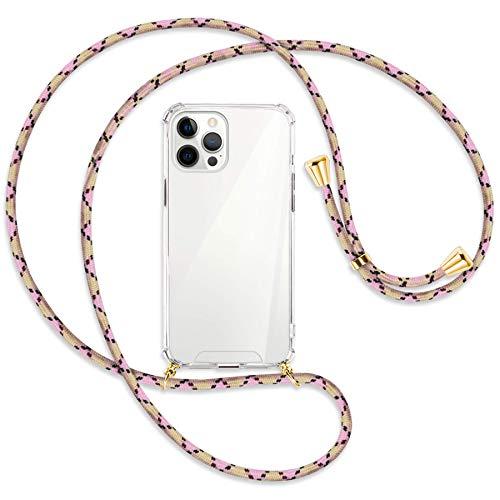 mtb more energy® Collar Smartphone para Apple iPhone 12 Pro MAX (6.7'') - Rombos Crema+Rosa/Oro - Funda Protectora ponible - Carcasa Anti Shock con Cuerda Correa