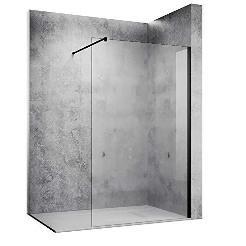 SONNI Duschwand 120 x 200 cm schwarz Walk In dusche Black style aus 10 mm Nano Glas,Duschabtrennung mit Stabilisator auf Duschtassen oder Boden montierbar