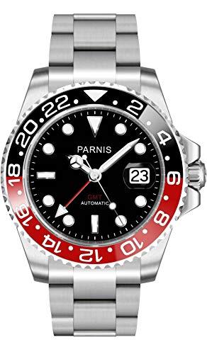 CursOnline® Reloj de pulsera automático para hombre de acero Parnis PN840 esfera negra...