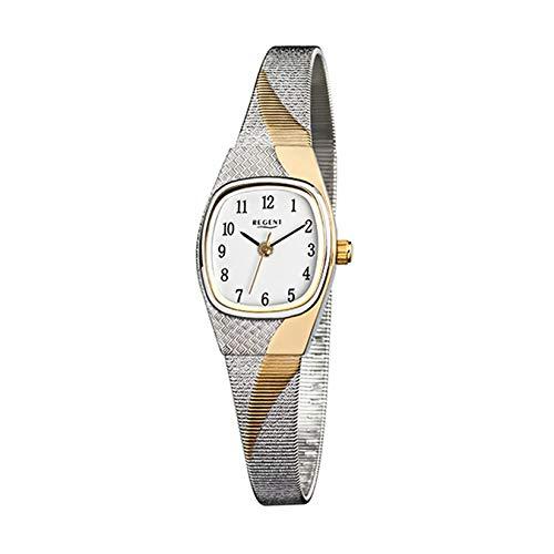 Regent Damen-Armbanduhr Elegant Analog Edelstahl-Armband silber gold Quarz-Uhr Ziffernblatt weiß URF625