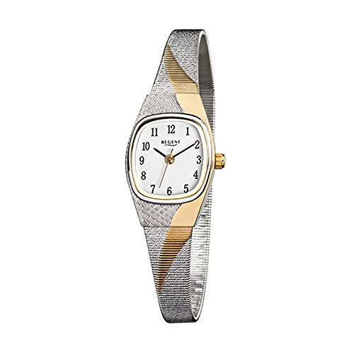 Regent Elegante reloj de pulsera analógico para mujer con correa de acero inoxidable plateada, oro y esfera blanca URF625