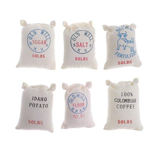 1/12 Puppenhaus Miniatur Küche Zubehör - 6 Beutel Essen Zucker Mehl Salz Kartoffel