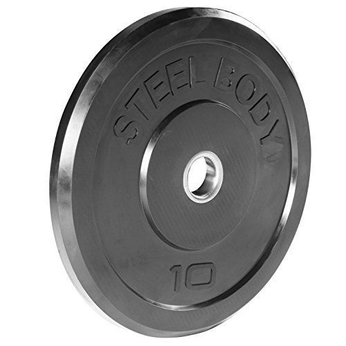 Steelbody Olympic Rubber Bumper Weight Plate - 10 lb. / 25 lb. / 35 lb. / 45 lb. Workout Weights, 10-Pound