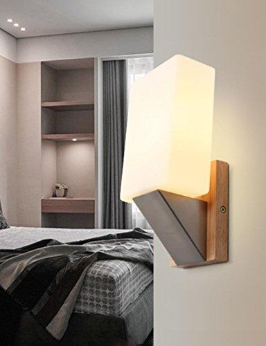 Corridor de lampe de chevet minimaliste moderne créative en bois solide / lampe de mur de balcon, pour la lampe de mur de LED d'étude de chambre à coucher de salon
