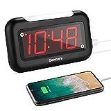 ZEITHALTER Small LED Digital Alarm Clock with Nightlight, Easy to Set, Full Range Brightness Dimmer, HI-Low Volume, USB Charging Port, Snooze, Outlet Power Clock for Senior Bedrooms, Bedside, Desk