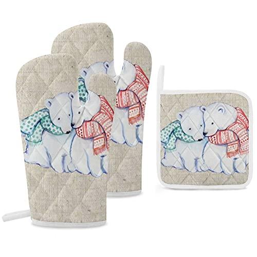 Set di 3 guanti da forno e presine resistenti con guanti in poliestere antiscivolo per barbecue, per cucina, cucina, cottura, cottura, griglia, orsi polari natalizi effetto lino