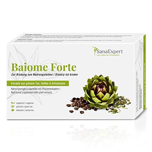 SanaExpert Baiome Forte, bruciagrassi, legante per grassi, dimagrante con estratto di carciofo, estratto di semi di caffè verde, tè verde. 60 Capsule