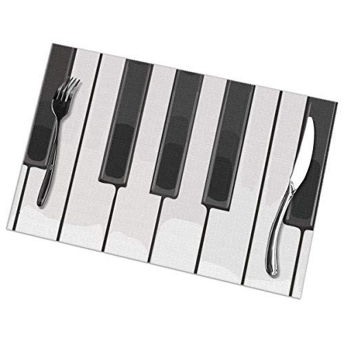 Tischsets Set mit 6 hitzebeständigen Tischsets Fleckenresistente, rutschfeste, waschbare Tastatur Klaviergriff Musiktischmatten