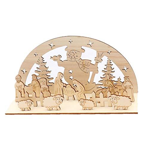 Décorations De Noël en Bois Joyeux Noël Creative Décoration Pendentif pour Arbre De Noël Porte Placard Mur Pièce maternelle bricolage assemblé Ornements ronds en trois dimensions