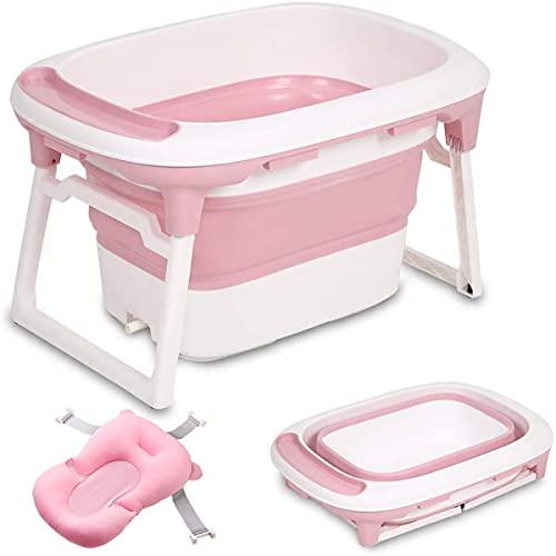 Vasca da Bagno Pieghevole, 2 in 1 Vaschetta per Bagnetto con un morbido cuscino da bagno e un tappo di scarico, Vasca da bagno grande per 0-8 anni (rosa)