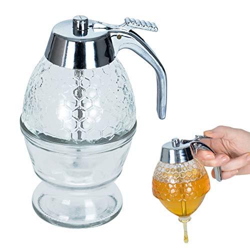 ORION Glas Spender Dispenser für Honig Sirup Honig-Dosierer mit Untersatz Speicher Ständer