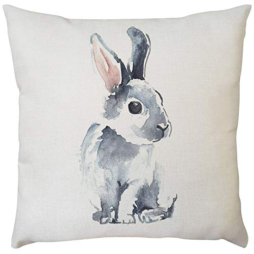 Celucke Easter Day Rabbit Bunnies Pattern Decorative Throw Pillow Covers, Cotton Linen Square Pillowcases for Sofa Couch Car Bedroom Home Decor