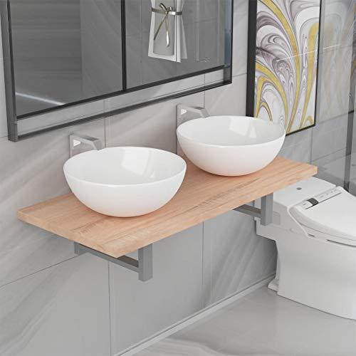 WooDlan Conjunto de Muebles de baño de Tres Piezas cerámica Roble