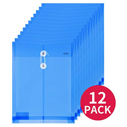 Deli 12 Pack Letter Size Poly String Envelope with Expandable Gusset, Water/Tear Resistant-Translucent, Blue