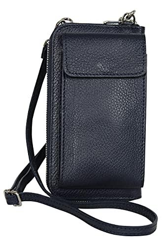 AmbraModa GLX21 - multifunktionale Damen Handytasche, Umhängetasche, Geldbörse aus echtem Leder, geeignet für Handys bis 6,5 Zoll (Dunkelblau)