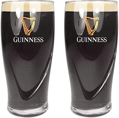 SP Guinness - Bicchieri da pinta da 568 ml, marcati CE, design con arpa goffrata, confezione da 2, in vetro Guinness
