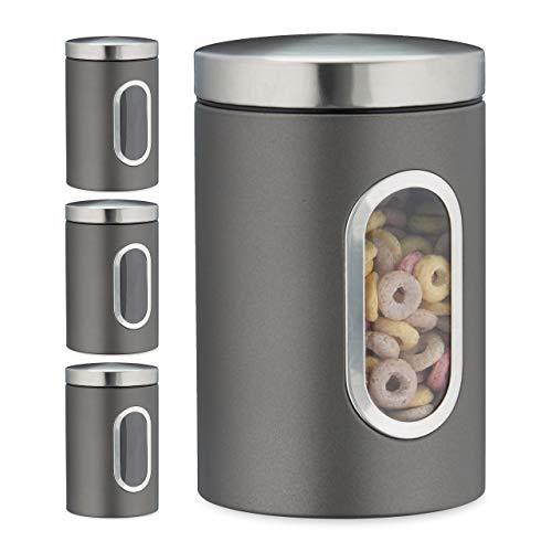 Relaxdays 4 x Vorratsdose, 1,4 L, mit Deckel und Sichtfenster, für Kaffee, Mehl, Pasta, Aufbewahrungsdose Küche, Metall, grau