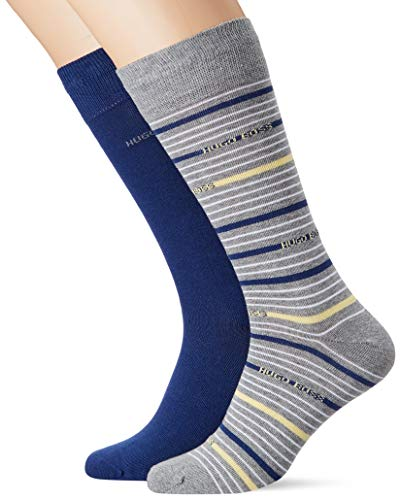 BOSS Herren 2P RS Stripe CC Socken, Silber (Silver 40), 39/42 (Herstellergröße: 39-42) (2er Pack)