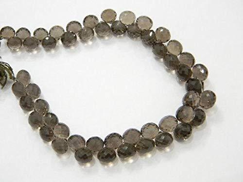 LKBEADS 20,32 cm de largo ahumado cortado a máquina con forma de cebolla facetada, cuentas de piedras preciosas en forma de código HIGH-39965