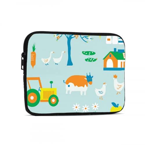 Funda para Tableta Dibujos Animados Lindo Infantil Divertido Tractor Fundas para Tableta compatibles con iPad 7.9/9.7 Pulgadas Bolsa Protectora de Tableta con Cremallera de Neopreno a Prueba de GOL