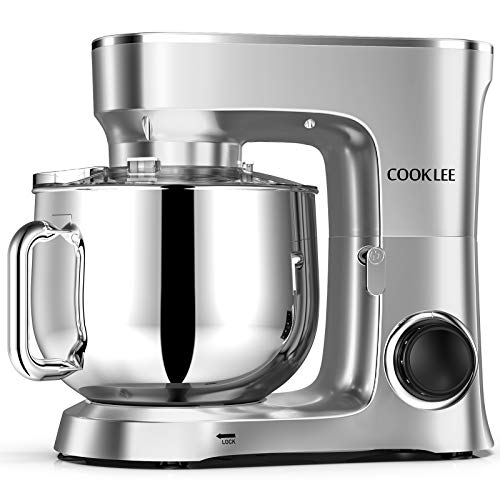 COOKLEE Stand Mixer, 9.5 Qt. 660W 10-Speed Electric Kitchen Mixer with Dishwasher-Safe Dough Hooks, Flat Beaters, Wire Whip & Pouring Shield Attachments for Most Home Cooks, SM-1551, Silver