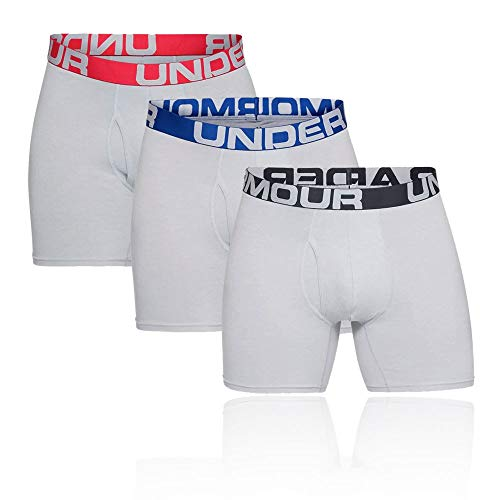 Under Armour Herren Schnelltrocknende Boxershorts, Komfortable Unterwäsche Für Männer 3 Pack Charged Cotton Sports Underwear, Grau, XXL, 1327426-011