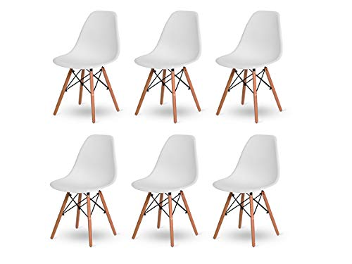 Kit 6 Cadeiras Jantar Wood Base Madeira Eiffel Charles Eames - TUTTO HOME (BRANCA)