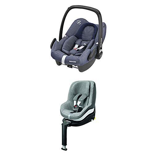 Maxi-Cosi Pearl Smart Kindersitz, rückwärts & vorwärtsgerichtetes Fahren möglich, nomad black, Gruppe 1 (9-18 kg) + Pearl Sommerbezug, cool grey