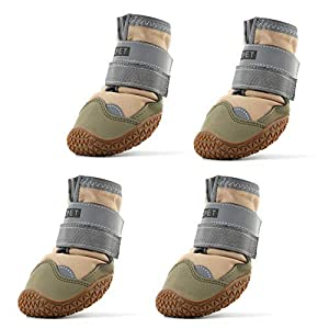 Hcpet Dog Boots Waterproof for Dog with Reflective Velcro Rugged Anti-Slip Sole and Skid-Proof Outdoor Paw Wear for Medium to Large Dogs 4Ps (Khaki-Upgrade, 4: 2.7″x2.2″(LW) for 36-40 lbs)