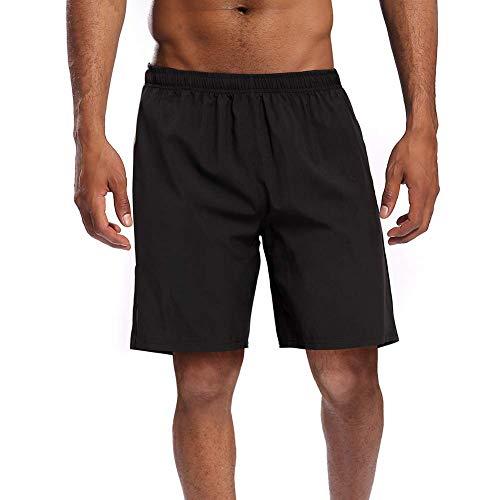 CAMEL CROWN Herren Shorts Kurze Hose Schnell Trocknend Atmungsaktive Sporthose Taschen Männer Running Fitness Gym Sport Shorts mit Kordelzug Training Shorts, Schwarz, M