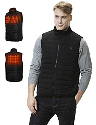 Aoymay USB Electric Heated Vest with Battery Washable Smart Heating Jacket Vest for Fishing Hunting Hiking Camping