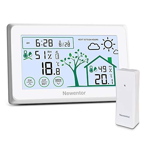 Newentor Wetterstation Funk mit Außensensor, Thermometer Innen/Ausen, Weather Stations, Wetterstation Batteriebetrieben, Funk Wetterstation Weiß ohne Funkuhr