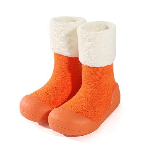 LACOFIA Zapatos de Calcetines Antideslizante de bebé niñas niños Botas de calcetín con Suela de Goma para bebé Unisex Naranja 19/19.5