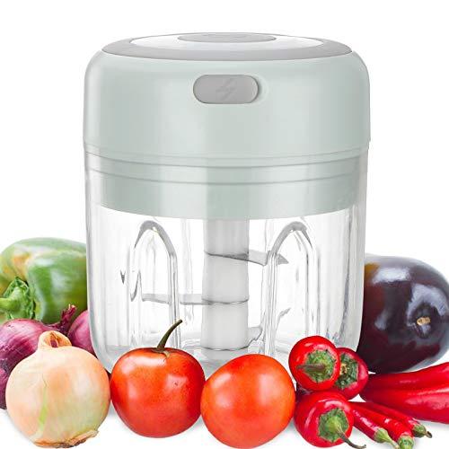 Picadora de ajos Mini, procesador de alimentos de cocina y licuadora de 250 ml, procesador de alimentos portátil, utilizado para chile, pimienta, carne, nueces vegetales, recargable por USB(verde)
