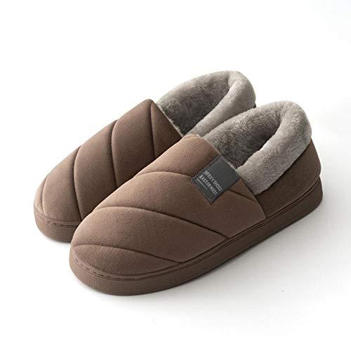 YUTJK Hausschuhe Winter Warm Pantoffeln mit Memory Foam Sohle,Unisex-Erwachsene,Winter Platform Cotton Schuhe für Männer-Brown_7/7.5UK
