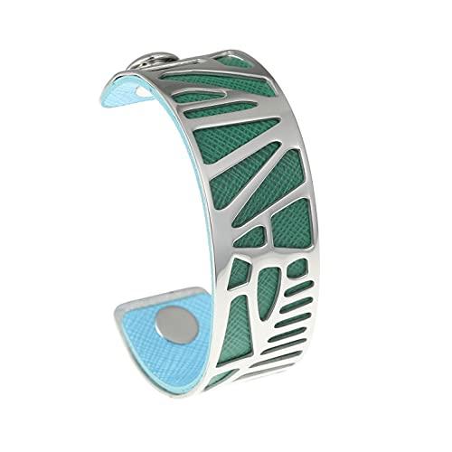 Overvloedi collar gargantilla pulsera de acero inoxidable señoras carpintero intercambiable doble cara cuero brazo pulsera BC0026707
