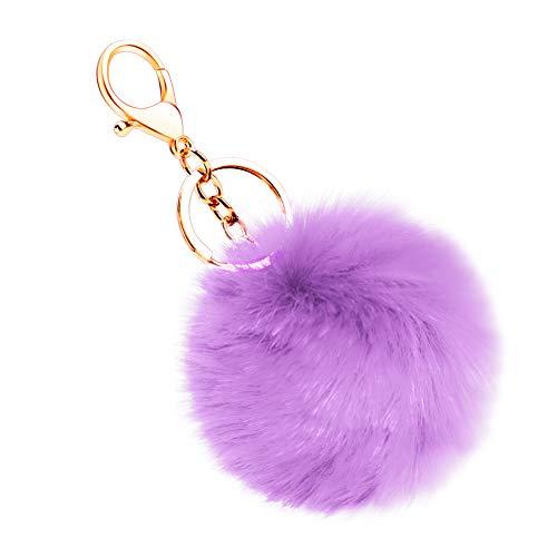 Soleebee Soft Artificial Rabbit Fur Keychain Pom Pom Key Ring Cute Plush Ball Bag Charm for Women Girls (Light Purple)