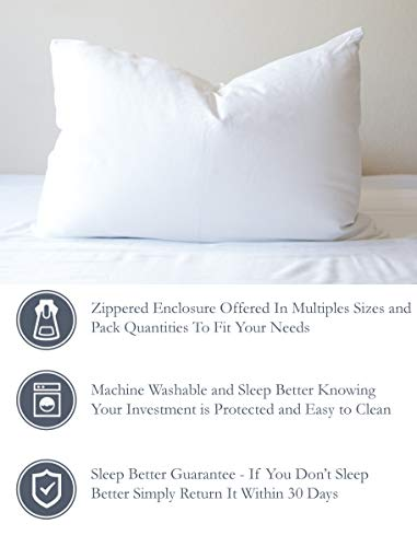 Feather/Down-Proof, 100% Cotton, Pillow Protector - Reduce Pokes with Hypoallergenic, Breathable, Machine Washable, Quiet, Soft Covers - Zippered Enclosure & Machine Washable (1, King)