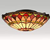 EUL Vintage Tiffany Style Mission Semi Flush Mount Ceiling Light 15.7' Antique Art Colorful Glass Shade 3 Lights