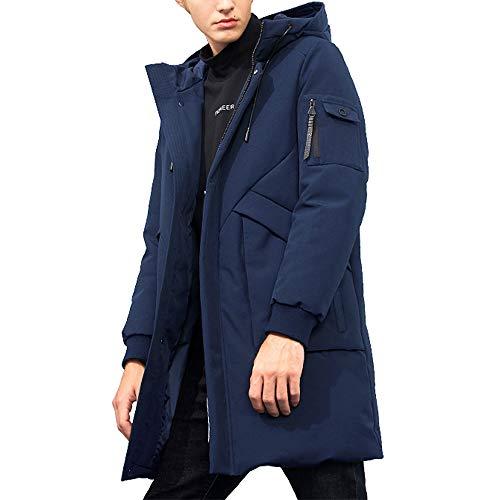 Pioneer Camp Men's Winter Coats Water-Repellent Windproof Thicken Parkas Long Hooded Padded Puffer Jacket (Dark Blue, M)