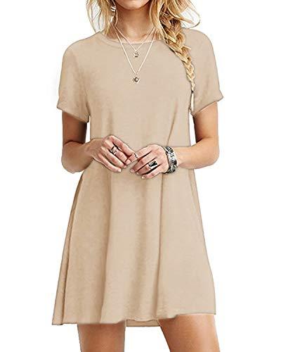 YOINS Damen Kleider Tunika Tshirt Kleid Kurzarm MiniKleid Sommerkleid für Damen Brautkleid Maxikleid Rundhals