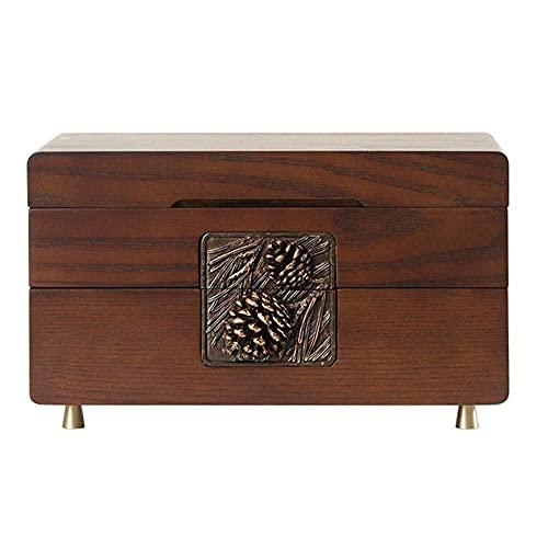 JIANGCJ Bonita caja de joyería de madera con cerradura para joyas de alta capacidad, caja de almacenamiento multiusos para joyero
