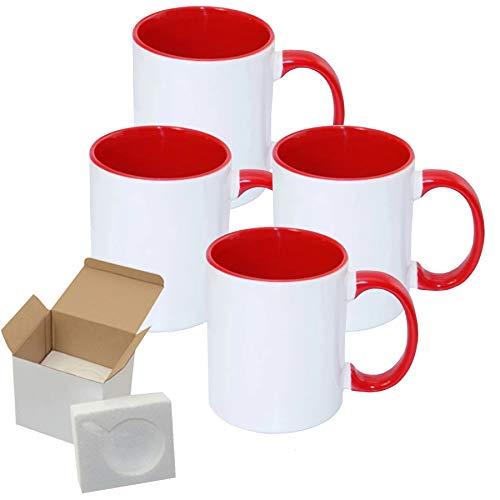 4 PCS Mugs Premium Quality RED Color Tone 11 OZ Blank Sublimation Mugs Coated Ceramic Cups Christmas DIY Mugs