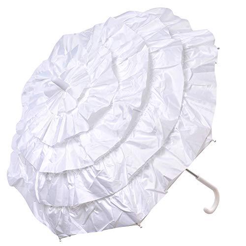 LONGBLE spitse parasol dames parasol bruidsscherm bruiloft paraplu ruches scherm, romantische party foto rekwisieten paraplu bruidsscherm lace paraplu paraplu parasol